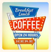 Retro Neon Sign Breakfest Coffee - stock illustration