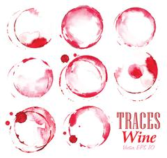 Set traces red wine marks - stock illustration