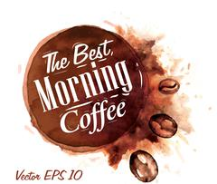 Set of watercolor coffee the best morning coffee - stock illustration