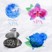 Symbols spa watercolor - stock illustration
