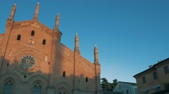 Santa Maria Del Carmine church in Pavia, PV, Italy, pan shot Stock Footage