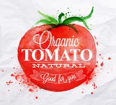 Tomato watercolor poster Stock Illustration