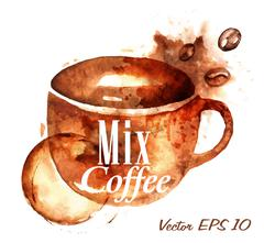 Mix coffee splash - stock illustration