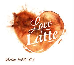 Heart drawn pour coffee latte Stock Illustration