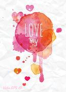 Watercolor drops love my - stock illustration