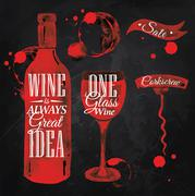 Pointer drawn pour wine chalk - stock illustration