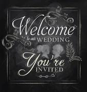 Wedding invitation chalk Stock Illustration