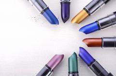 Modern makeup lipstick color range. Stock Photos