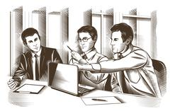 Business partners discussing documents and ideas at meeting. Engraved Vector Stock Illustration