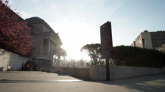 Brooklyn Museum dolly establishing shot summer sunset Stock Footage