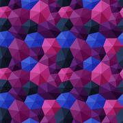 Mixed hexagons three dimensional shading multicolor dark tones - stock illustration