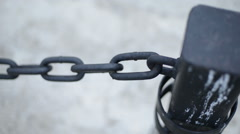 Iron chain hanging. Camera movement pan shot 1080p Stock Footage