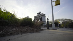 Grand Army Plaza Brooklyn Establishing shot Stock Footage