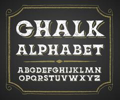 Hand drawn alphabet on chalkboard - stock illustration