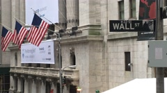 Handheld Wall Street Sign New York 4k Stock Video - stock footage