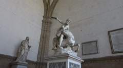Marble Hercules and Nessus on display in Loggia, Florence Stock Footage