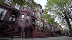 Brooklyn Brownstone view from the street Stock Footage