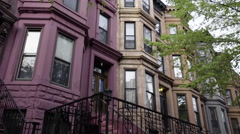 Brooklyn Brownstone establishing dolly shot - stock footage