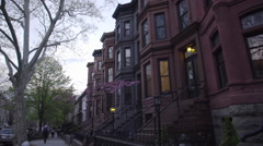 Brooklyn Brownstone view from the street - stock footage