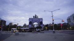 Brooklyn Grand Army Plaza establishing shot night Stock Footage