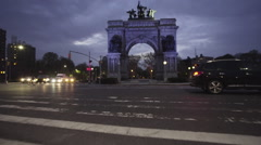 Grand Army Plaza Brooklyn Establishing shot - stock footage