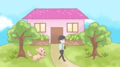 Animation of lonely dog waiting desperately for a family member for attention Stock Footage
