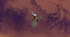 Top view of Mars Reconnaissance Orbiter above Mars at 111 degrees longitude. - stock footage