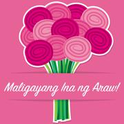 Tagalog rose Mother's Day card in vector format. - stock illustration