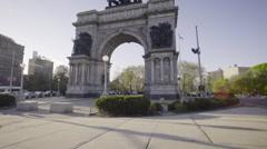 Dolly shot - establishing shot - Brooklyn's Grand Army Plaza Stock Footage