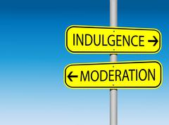 Indulgence and Moderation rod sign with copyspace - stock illustration