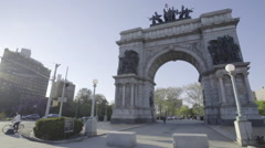 Dolly shot Brooklyn's Grand Army Plaza Stock Footage