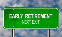 Early Retirement Road Sign - stock illustration
