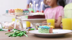 Happy family celebrating a birthday Stock Footage