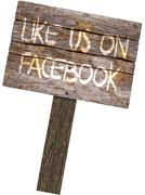 Like Us On Facebook Wood Wooden Sign Board on White Background Piirros