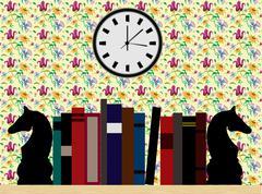 Bedroom Bookshelf Library - stock illustration