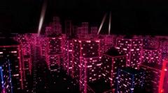 Neon city fly over urban skyscraper glow computer tron matrix 4k Stock Footage