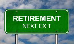 Retirement Road Sign Announcement Conceptual Illustration Stock Illustration
