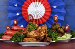 Super Bowl Sunday football party celebration food platter Stock Photos