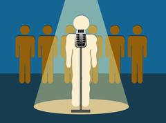 Stage Fright Nervous Shaking Speaker in Front of an Audience Stock Illustration
