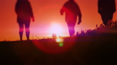4K Dusk Sunset Lens Flare, Happy People Silhouette, Purple Sky Stock Footage