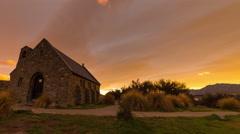 Beautiful and colorful sunrise timelapse at Church of the Good Shepherd, Tekapo Stock Footage
