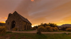Beautiful and colorful sunrise timelapse at Church of the Good Shepherd, Tekapo, Stock Footage