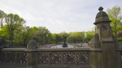 Central Park Bethesda Fountain establishing shot New York City - stock footage