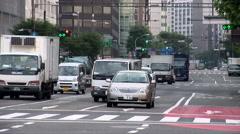Car Driving Down City Street, Tokyo, Japan Stock Footage