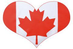 Heart shape Canadian Flag - stock illustration
