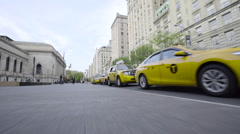 A line of Taxi Cabs await passengers in New York City. Stock Footage
