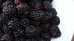 Fresh Blackberries on the breakfast table. Stock Footage