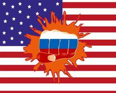 Fist overpunching flag Stock Illustration