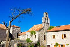 Church of Holy Virgin Mary in old town Budva, Montenegro - stock photo