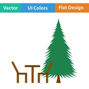 Icon of park seat and pine tre - stock illustration